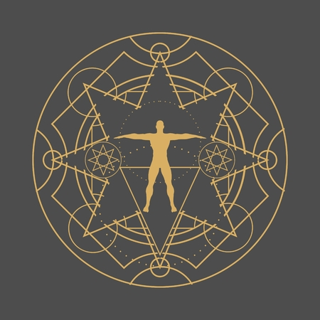Mystery, witchcraft, occult and alchemy tattoo sign. Mystical vintage gothic geometry thin lines symbol with silhouette of a muscular man Vector illustration. 일러스트