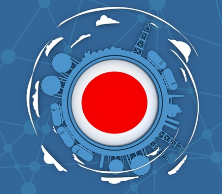 Circle with energy relative silhouettes. Objects located around circle. Industrial design background. Flag of the Japan in the center. 3D rendering