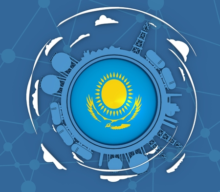 Circle with energy relative silhouettes. Objects located around circle. Industrial design background. Flag of the Kazakhstan in the center. 3D rendering