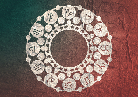 Astrological symbols in the circle. Decorative ornanet