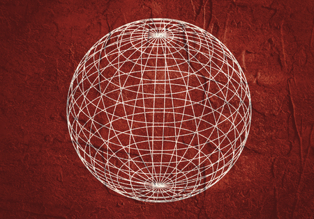 Wire frame style design. Platonic solid design. Grunge texture Stock Photo