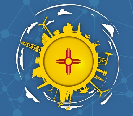 Circle with industry relative silhouettes. Objects located around the circle. Industrial design background. Flag of the New Mexico in the center. 3D rendering Stock Photo