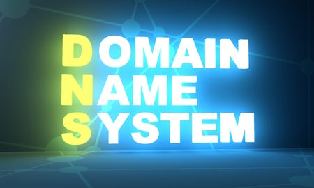 Acronym DNS - Domain Name System. Internet conceptual image. 3D rendering. Neon bulb illumination