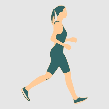 Running woman. Side view silhouette. Sport and recreation Illustration