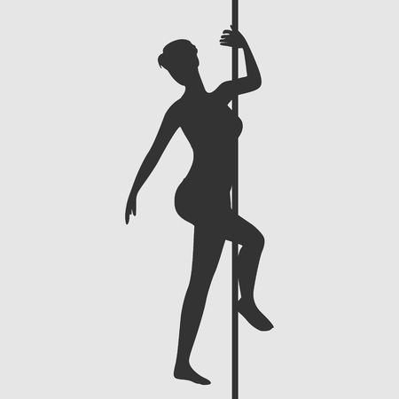 Silhouette of girl and pole.