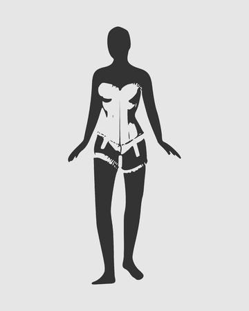 Woman wearing lingerie illustration