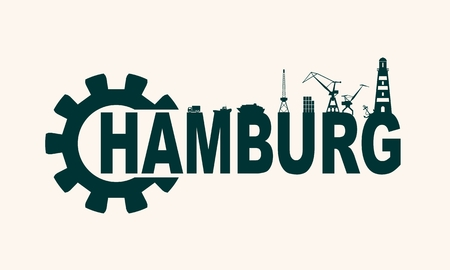 Gear with sea shipping and travel related silhouettes. Calligraphy inscription. Hamburg city name text