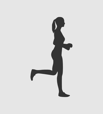 Running woman side view silhouette illustration. 向量圖像