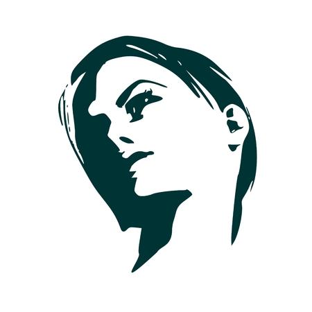 Face half turn view. Elegant silhouette of a female head.