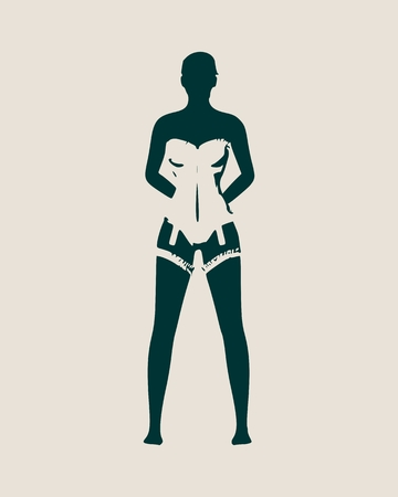 Beautiful  fit  girl, Pretty woman wearing lingerie. Front view Vector illustration.