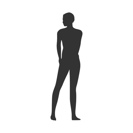 Sexy young woman silhouette . Fashion mannequin. Female figure posing.