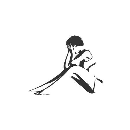 Illustration of a woman sitting on the floor. Sadness and grief. Standard-Bild - 97427720