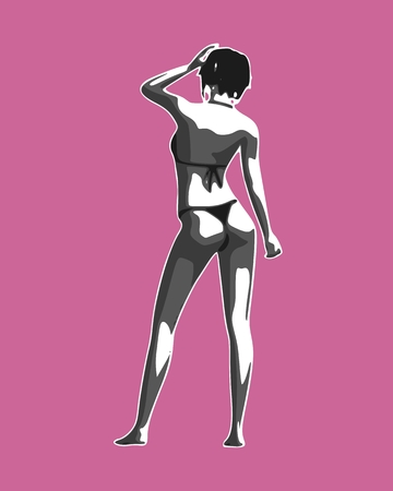 Beautiful sexy fitness girl. Pretty woman wearing bikini. Back view.