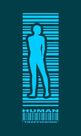 Bar code woman silhouette. Human trafficking text