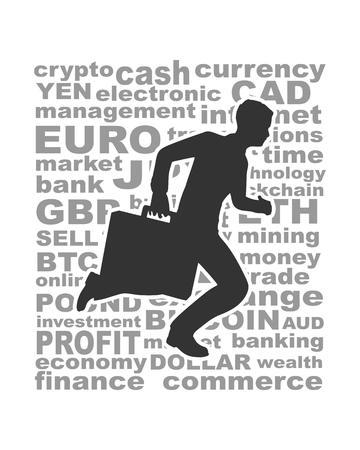 Businessman running with briefcase. Abstract illustration. Modern lifestyle metaphor. Word collage relative to trading.