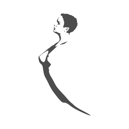 young woman silhouette. Female torso sketch Vector illustration. Stock Vector - 97547311