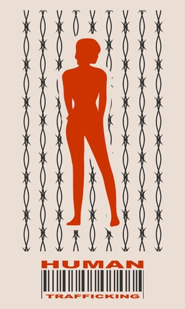Barbed wire backdrop and woman silhouette. Human trafficking text
