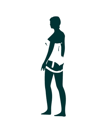 Beautiful sexy fitness girl. Pretty woman wearing lingerie. Side view. Illustration