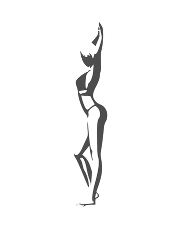 Beautiful sexy fitness girl. Pretty woman wearing bikini. Side view. Illustration