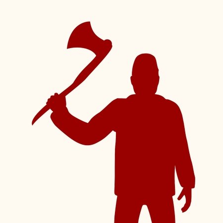 Lumberjack worker standing with axe. Vector silhouette Illustration