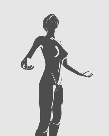 Beautiful  fitness girl in wizard pose. Pretty woman wearing bikini. Front view.