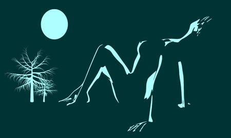 Mujer bonita con lencería. Vista lateral. Ilustración de una dama acostada bajo la luz de la luna. Pose relajante