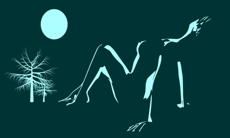Pretty woman wearing lingerie. Side view. Illustration of a lady lying under the moonlight. Relaxing pose Ilustracja