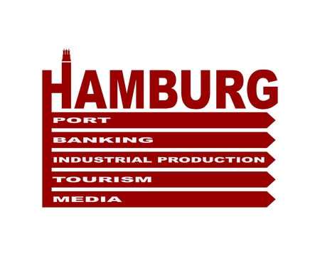 Hamburg city name text and element from coat of arms. Infographic pattern