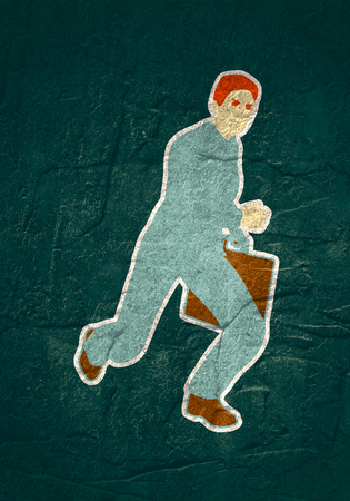 Businessman running with briefcase. Abstract illustration. Modern lifestyle metaphor Stockfoto