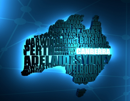 Map of Australia made from cities list. Neon shine material. 3D rendering Stock Photo