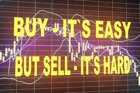 Forex candlestick pattern. Motivation quote. Buy its easy, but sell its hard. Financial market chart. 3D rendering Stock Photo