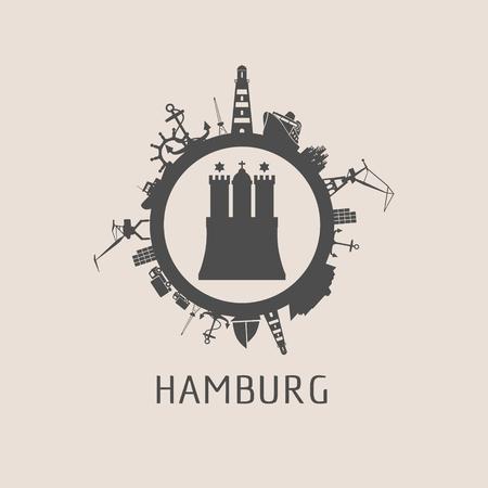 Modèle d'affiche de Hambourg avec des silhouettes liées au transport maritime et aux voyages dans un cercle