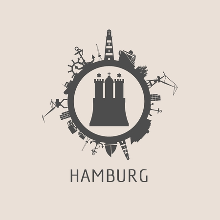 Hamburg poster template with sea shipping and travel related silhouettes in a circle Illustration