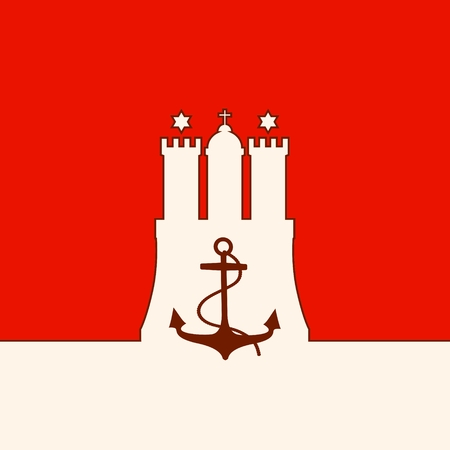 Travel template. Hamburg city coat of arms element and anchor icon