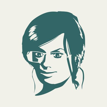 Face half turn view. Elegant silhouette of a woman spectacles Vector illustration. Vettoriali