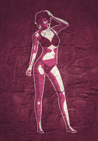Beautiful sexy fitness girl. Pretty woman wearing bikini. Front view.