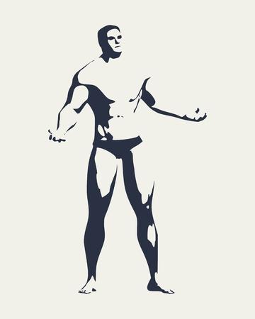 Bodybuilder silhouette. Muscular man posing.