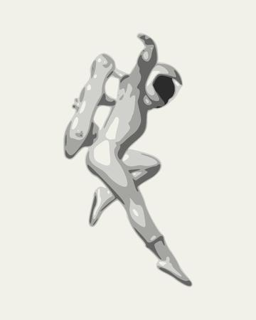 Astronaut in spacesuit in monochrome silhouette illustration. Vectores