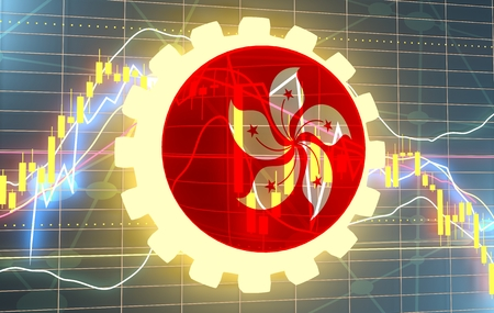 Forex candlestick pattern. Trading chart concept. Financial market chart. Gear with flag of the Hong Kong. 3D rendering Archivio Fotografico