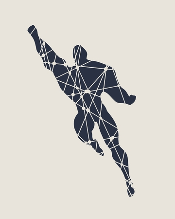 Bodybuilder silhouette textured by lines and dots pattern. Muscular man flying super hero sketch.
