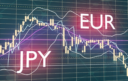 Forex candlestick pattern. Trading chart concept. Financial market chart. Currency pair. Acronym EUR - European Union currency. Acronym JPY - Japanese Yen. 3D rendering Фото со стока