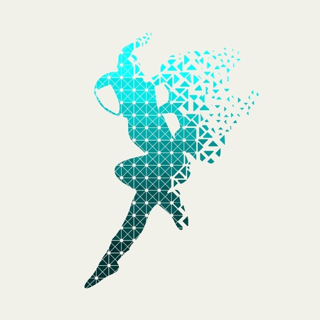 Astronaut in spacesuit. Flying silhouette of a spaceman textured by lines and dots pattern. Particles emission. Fantastic person Illustration