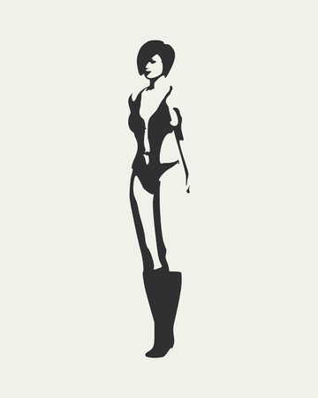 Beautiful sexy fitness girl. Pretty woman wearing swimsuit and high boots. Front view. Illustration