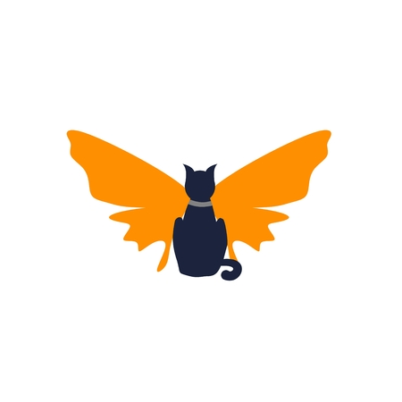 The silhouette of a cat with butterfly wings Illustration
