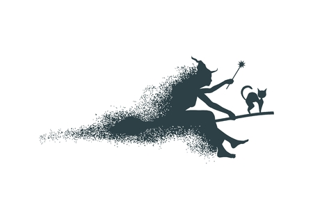 Illustration of flying young witch icon composed of particles. Witch and cat silhouettes on a broomstick. Magic wand in hand. Halloween relative image. Illustration