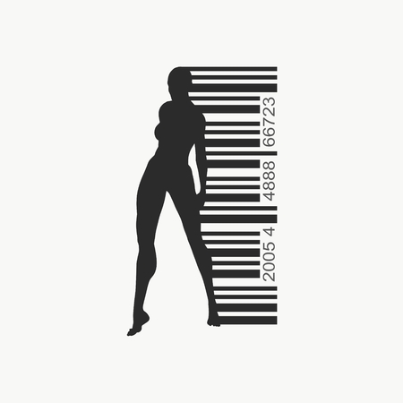 Bar code and woman silhouette. Human trafficking theme