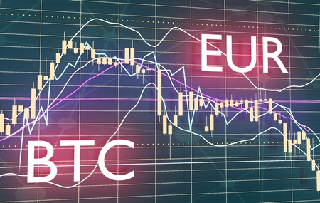 Forex candlestick pattern. Trading chart concept. Financial market chart. Currency pair. Acronym EUR - European Union currency. Acronym BTC - Bitcoin crypto currency. 3D rendering