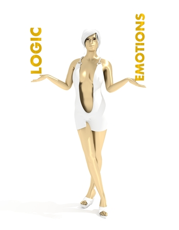Young lady holding a words. Balance between logic and emotions. 3D rendering. Short elegant dress. Metallic material