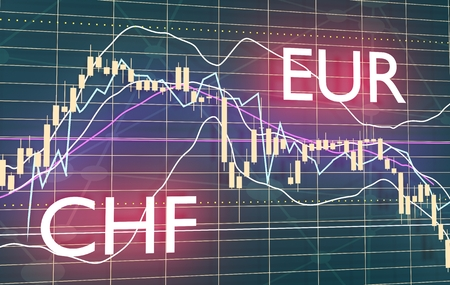 Forex candlestick pattern. Trading chart concept. Financial market chart. Currency pair. Acronym EUR - European Union currency. Acronym CHF - Swiss Franc. 3D rendering Stock Photo