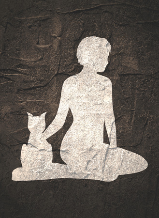 The woman sitting with cat. Simple silhouettes Stock Photo